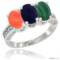 14K White Gold Natural Coral, Lapis Ring with Malachite Ring 3-Stone 7x5 mm Oval Diamond Accent