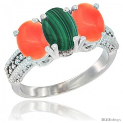 14K White Gold Natural Malachite Ring with Coral 3-Stone 7x5 mm Oval Diamond Accent