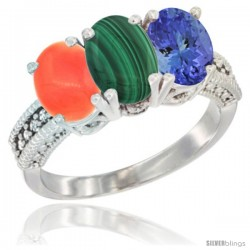 14K White Gold Natural Coral, Malachite Ring with Tanzanite Ring 3-Stone 7x5 mm Oval Diamond Accent