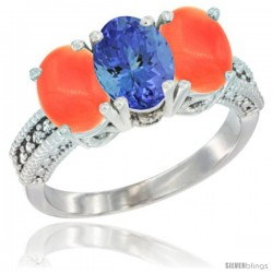 14K White Gold Natural Tanzanite Ring with Coral 3-Stone 7x5 mm Oval Diamond Accent