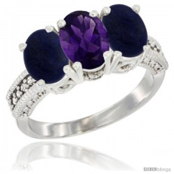 14K White Gold Natural Amethyst Ring with Lapis 3-Stone 7x5 mm Oval Diamond Accent