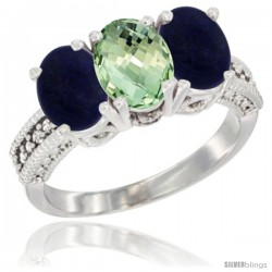 14K White Gold Natural Green Amethyst Ring with Lapis 3-Stone 7x5 mm Oval Diamond Accent