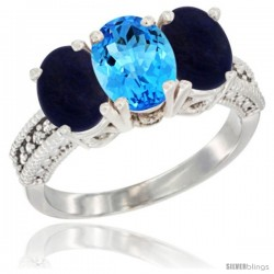 14K White Gold Natural Swiss Blue Topaz Ring with Lapis 3-Stone 7x5 mm Oval Diamond Accent