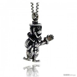 Sterling Silver Clown Pendant, 3/4 in tall -Style Pa1547