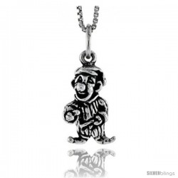 Sterling Silver Clown Pendant, 5/8 in tall