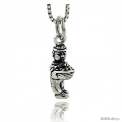 Sterling Silver Farmer Pendant, 5/8 in tall
