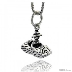 Sterling Silver Log Driver Pendant, 1/2 in tall