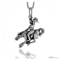Sterling Silver Cowboy on a Horse Pendant, 3/4 in tall