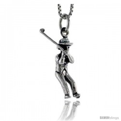 Sterling Silver Golfer Pendant, 3/4 in tall