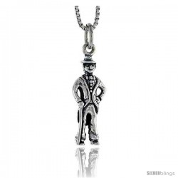 Sterling Silver Englishman Pendant, 3/4 in tall