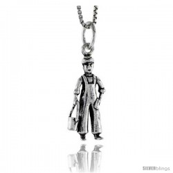 Sterling Silver Milk Man Pendant, 7/8 in tall
