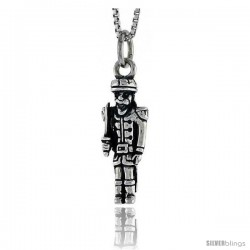 Sterling Silver Soldier Pendant, 7/8 in tall