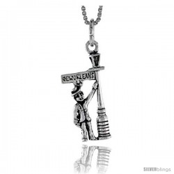 Sterling Silver Man Leaning in New Orleans Light Post Pendant, 7/8 in tall