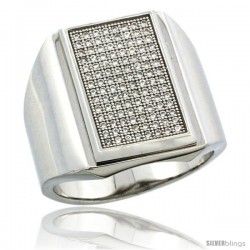 Sterling Silver Men's Large Rectangular Ring 112 Micro Pave CZ Stones, 3/4 in (20.5 mm) wide