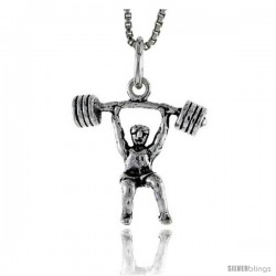 Sterling Silver Weightlifter Pendant, 3/4 in tall