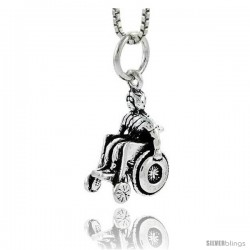 Sterling Silver Wheelchair Pendant, 3/4 in tall