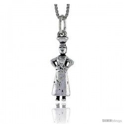 Sterling Silver Maid w/ Bowl Pendant, 7/8 in tall