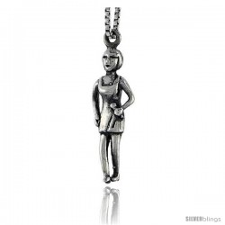 Sterling Silver Lady in Halter Dress Pendant, 7/8 in tall