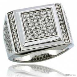 Sterling Silver Men's Large Square Ring 168 Micro Pave CZ Stones, 5/8 in (16 mm) wide