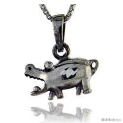 Sterling Silver Hippo Pendant, 3/4 in tall