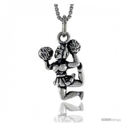 Sterling Silver Cheerleader Pendant, 3/4 in tall -Style Pa1570