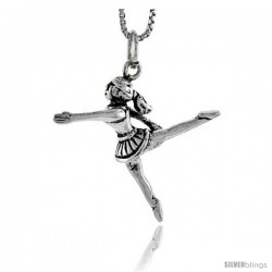 Sterling Silver Cheerleader Pendant, 1 in tall