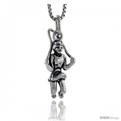 Sterling Silver Girl Playing Jump Rope Pendant, 3/4 in tall
