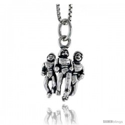 Sterling Silver Runners Pendant, 5/8 in tall
