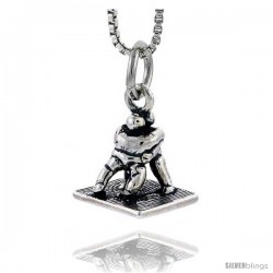 Sterling Silver Wrestling Match Pendant, 1/2 in tall