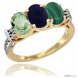 10K Yellow Gold Natural Green Amethyst, Lapis & Malachite Ring 3-Stone Oval 7x5 mm Diamond Accent