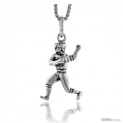 Sterling Silver Baseball Player Pendant, 3/4 in tall -Style Pa1578