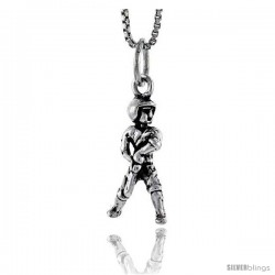 Sterling Silver Baseball Player Pendant, 3/4 in tall -Style Pa1579