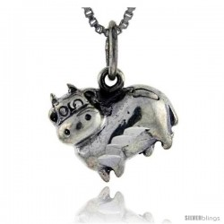 Sterling Silver Hippo Pendant, 5/8 in tall