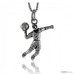 Sterling Silver Basketball Player Pendant, 3/4 in tall