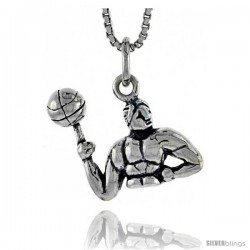 Sterling Silver Man Spinning Basketball on Finger Pendant, 1/2 in tall