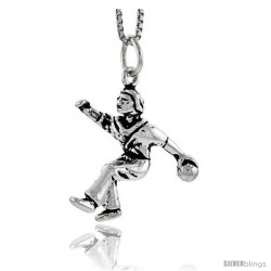 Sterling Silver Bowler Pendant, 7/8 in tall