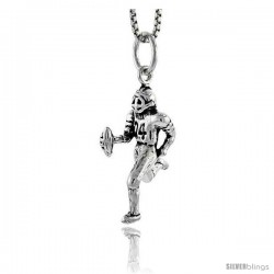Sterling Silver Football Player Pendant, 7/8 in tall