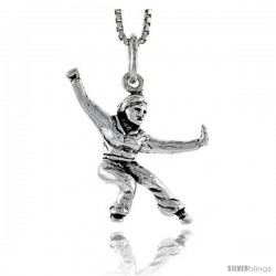 Sterling Silver Kung Fu Exhibitionist Pendant, 7/8 in tall