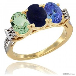 10K Yellow Gold Natural Green Amethyst, Lapis & Tanzanite Ring 3-Stone Oval 7x5 mm Diamond Accent