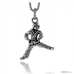 Sterling Silver Kung Fu Exhibitionist Pendant, 3/4 in tall