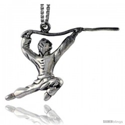 Sterling Silver Kung Fu Exhibitionist Pendant, 7/8 in tall -Style Pa1588