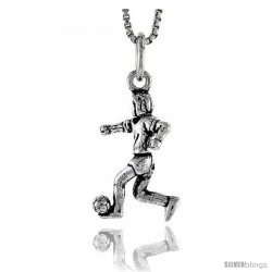 Sterling Silver Soccer Player Pendant, 3/4 in tall -Style Pa1589