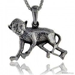 Sterling Silver Monkey Pendant, 1 in tall