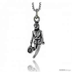 Sterling Silver Tennis Player Pendant, 3/4 in tall