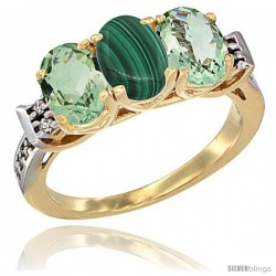 10K Yellow Gold Natural Malachite & Green Amethyst Sides Ring 3-Stone Oval 7x5 mm Diamond Accent