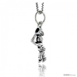 Sterling Silver Boy w/ Butterfly Net Pendant, 3/4 in tall