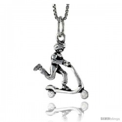 Sterling Silver Boy on Scooter Pendant, 3/4 in tall