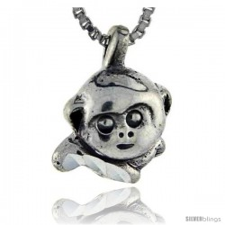 Sterling Silver Monkey Pendant, 5/8 in tall