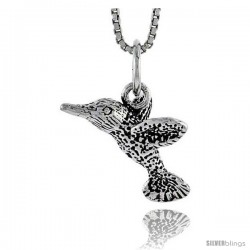 Sterling Silver Hummingbird Pendant, 1/2 in tall
