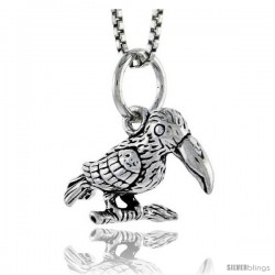 Sterling Silver Bird Pendant, 1/2 in tall -Style Pa1601